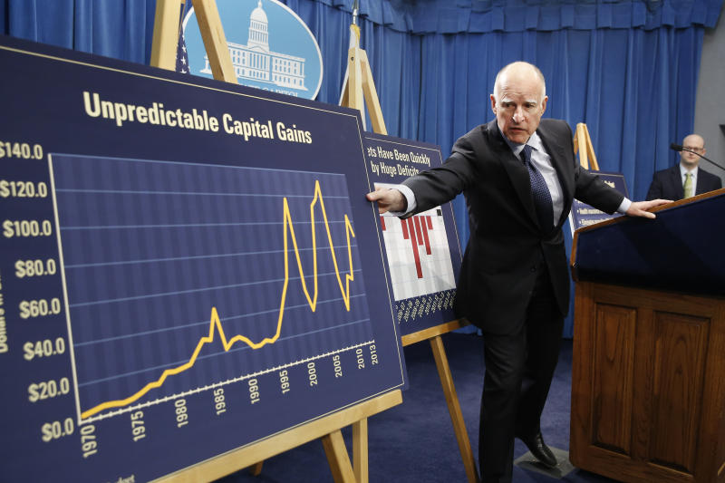 FILE -- In this Jan. 9, 2014 file photo, California Gov. Jerry Brown reaches for a chart showing the volatility of capital gains revenue that the state depends on for budgeting, during a news conference in which he unveiled his proposed 2014-15 state budget in Sacramento, Calif. A slow but steady economic recovery is generating more tax revenue than many states had anticipated. California, once the epitome of busted budgets, is now forecasting a $3.2 billion budget surplus.(AP Photo/Rich Pedroncelli, file)
