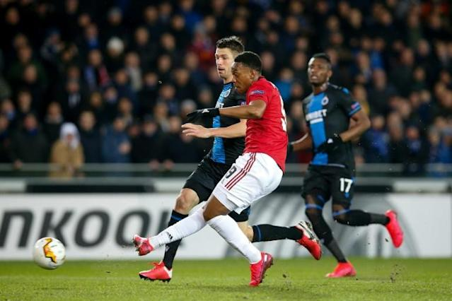 Anthony Martial snatched an equaliser out of nothing as United avoided defeat in Bruges (AFP Photo/BRUNO FAHY)
