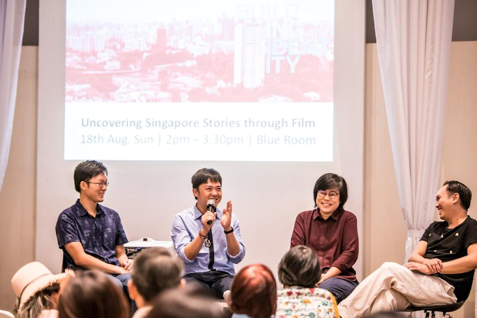 Yeo Siew Hua with other panellists Eva Tang (third from left) and Jerrold Chong (first from left) at LumiNation 2019. (Photo: Arts House Limited)