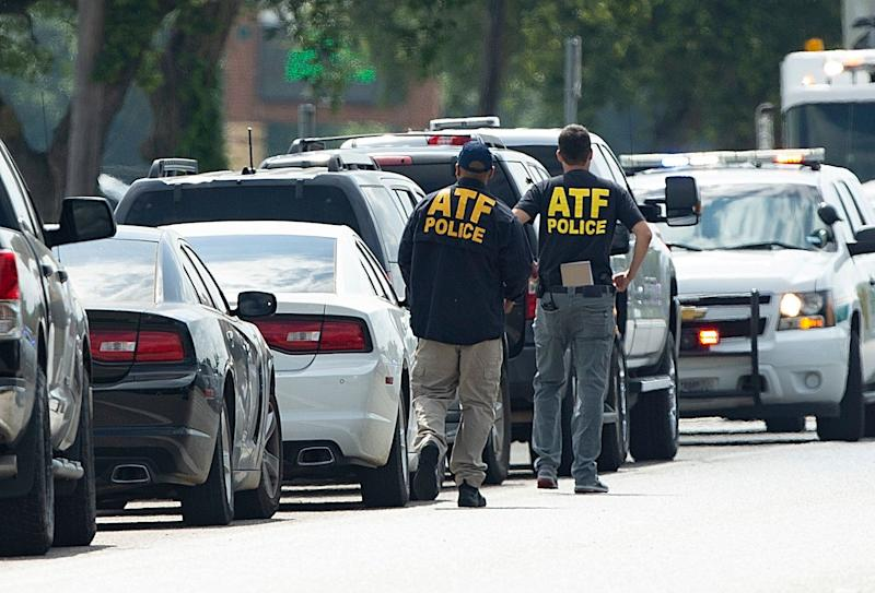 ATF agents arrive on location at Santa Fe High School where a shooter killed at least 10 students on May 18, 2018 in Santa Fe, Texas.