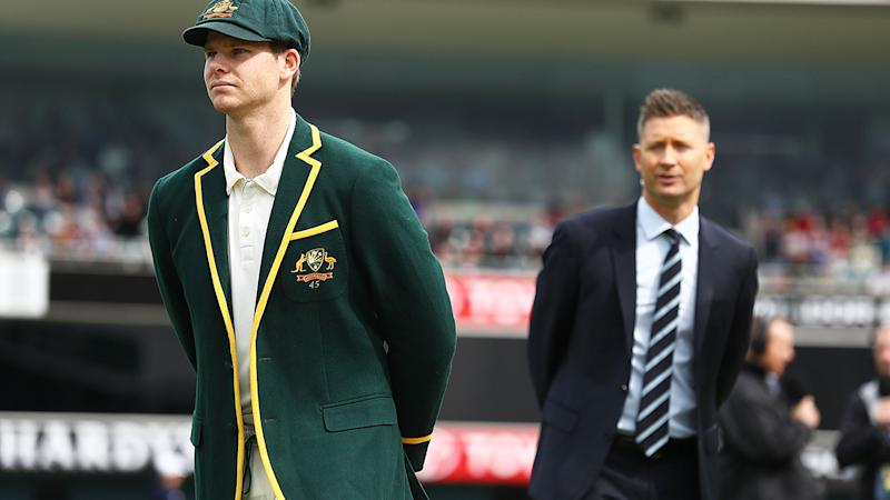 Michael Clarke and Steve Smith, pictured here during a Test match in 2018.