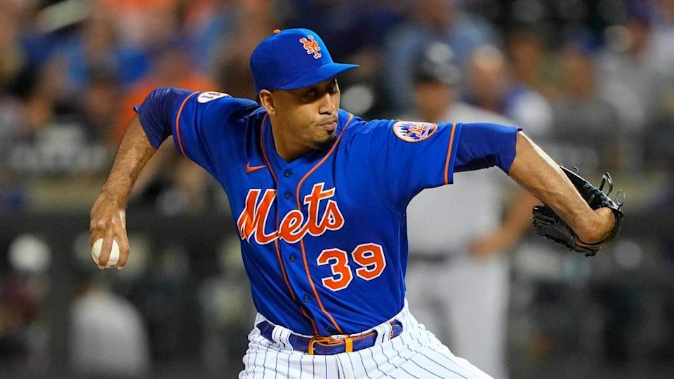 Aug 31, 2021; New York City, New York, USA; New York Mets pitcher Edwin Diaz (39) delivers against the Miami Marlins during the seventh inning at Citi Field.