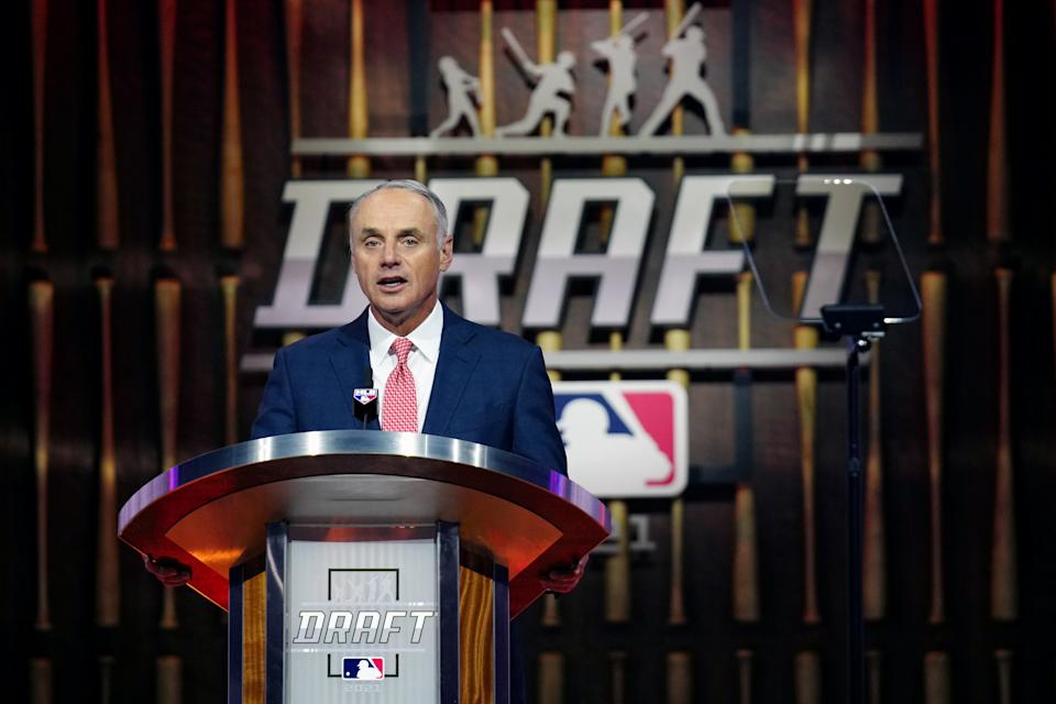 DENVER, CO - JULY 11:  MLB Commissioner Rob Manfred announces the picks during the 2021 Major Leauge Baseball Draft at Bellco Theater at Colorado Convention Center on Sunday, July 11, 2021 in Denver, Colorado. (Photo by Daniel Shirey/MLB Photos via Getty Images)