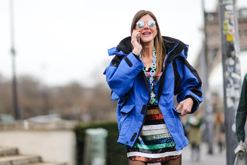 Fashion journalist Anna Dello Russo wore a bright blue jacket in Paris in March. (Edward Berthelot via Getty Images)