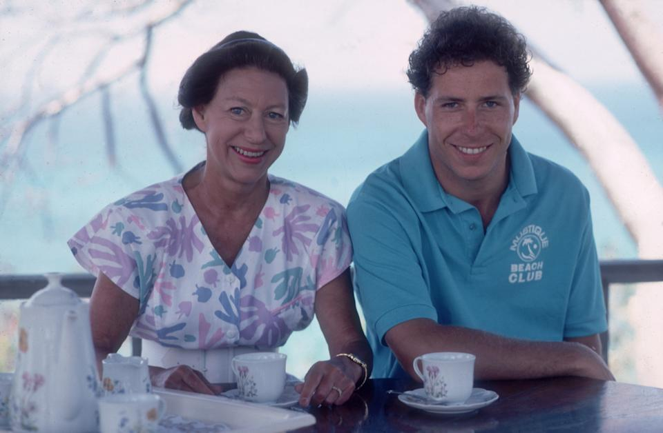 February 1989:  Princess Margaret (1930 - 2002) with her son David Linley on the island of Mustique in the Grenadines.  (Photo by Slim Aarons/Getty Images)