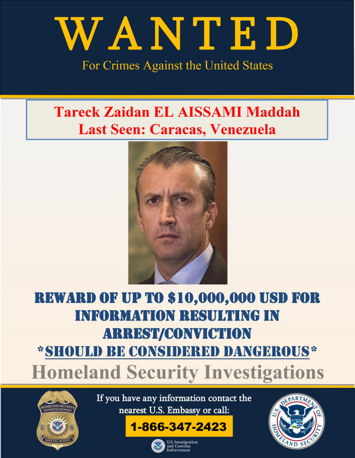 This image provided by the U.S. Department of Justice shows a wanted poster for Tareck Zaidan that was released on Thursday, March 26, 2020. The U.S. Justice Department has indicted Venezuela's socialist leader Nicolás Maduro and several key aides on charges of narcoterrorism. (Department of Justice via AP)