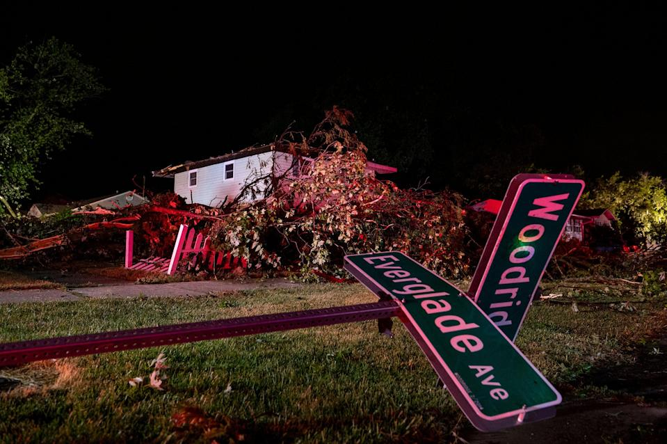A home with a damaged roof after the tornado touched down near suburban Woodridge (AP)