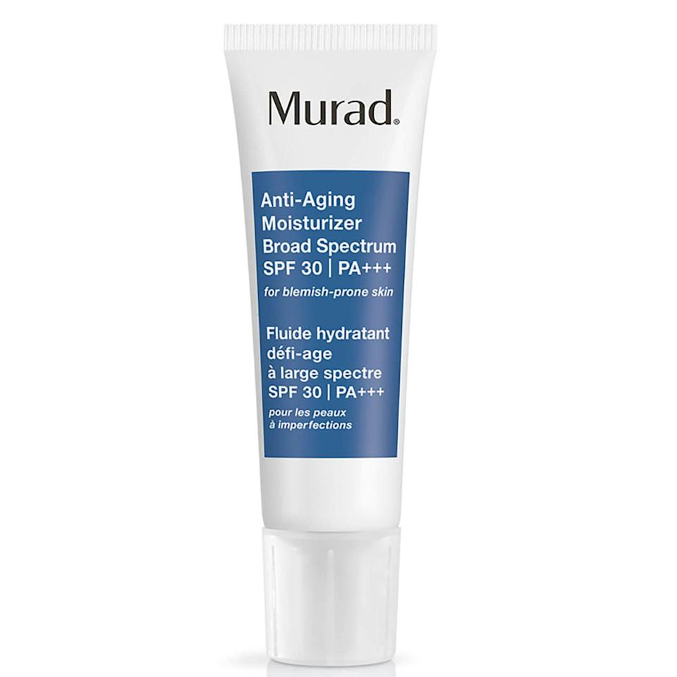 """<p><a class=""""link rapid-noclick-resp"""" href=""""https://go.redirectingat.com?id=127X1599956&url=https%3A%2F%2Fwww.johnlewis.com%2Fmurad-anti-ageing-moisturiser-spf-30-pa-50ml%2Fp2501741&sref=https%3A%2F%2Fwww.elle.com%2Fuk%2Fbeauty%2Fskin%2Fg32735%2Fbest-face-sun-cream-spf-acne-spots-non-comedogenic%2F"""" rel=""""nofollow noopener"""" target=""""_blank"""" data-ylk=""""slk:SHOP NOW"""">SHOP NOW</a></p><p>For those that want mattifying properties alongside potent anti-ageing ingredients, look no further. This hydrating liquid helps to minimise wrinkles, without clogging the skin.</p>"""