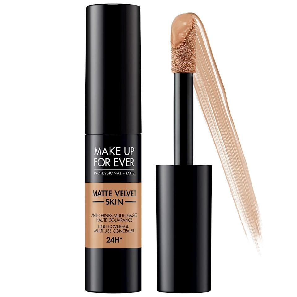 <p>Opting to just cover dark circles or acne scars with concealer means there's less makeup all over to then rub off on your mask. This bestselling <span>Make Up For Ever Matte Velvet Skin High Coverage Multi-Use Concealer</span> ($27) is a 24-hour, waterproof- and transfer-resistant option that can also be used to contour as you wish.</p>