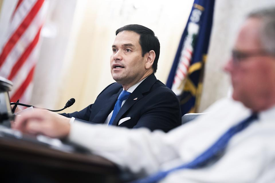 Senator Marco Rubio, a Republican from Florida and vice chairman of the Senate Intelligence Committee, speaks during a confirmation hearing for William Burns, director of the Central Intelligence Agency (CIA) nominee for U.S. President Joe Biden, in Washington, D.C., U.S., on Wednesday, Feb. 24, 2021. (Tom Williams/CQ-Roll Call Group/Bloomberg via Getty Images)