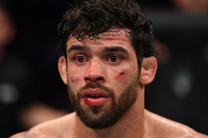 PHOENIX, ARIZONA - FEBRUARY 17: Renan Barao of Brazil reacts after his KO loss to Luke Sanders in their bantamweight bout during the UFC Fight Night event at Talking Stick Resort Arena on February 17, 2019 in Phoenix, Arizona. (Photo by Josh Hedges/Zuffa LLC/Zuffa LLC via Getty Images)