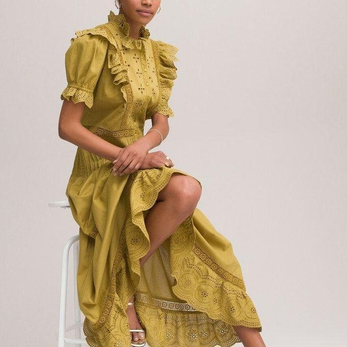 <p><strong>£65 (Save 25% with code: SUMMER)</strong></p><p>Not a fan of florals? Then this beautiful ruffled, Broderie Anglais maxi dress is for you.</p>