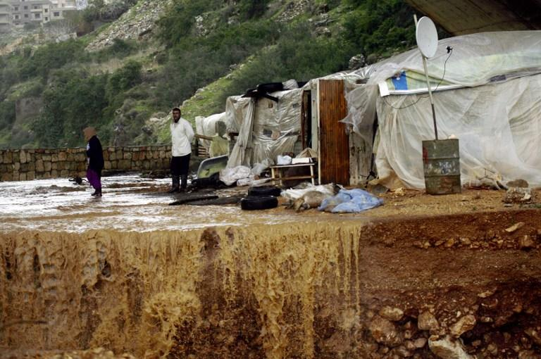 A Lebanese farmer stands near his dead goats after his herd was by hit heavy rains and big wind on January 7, 2013 in the Lebanese southern city of Jadra. Heavy rains have hit the region making six people injured in Israel.  AFP PHOTO MAHMOUD ZAYYAT