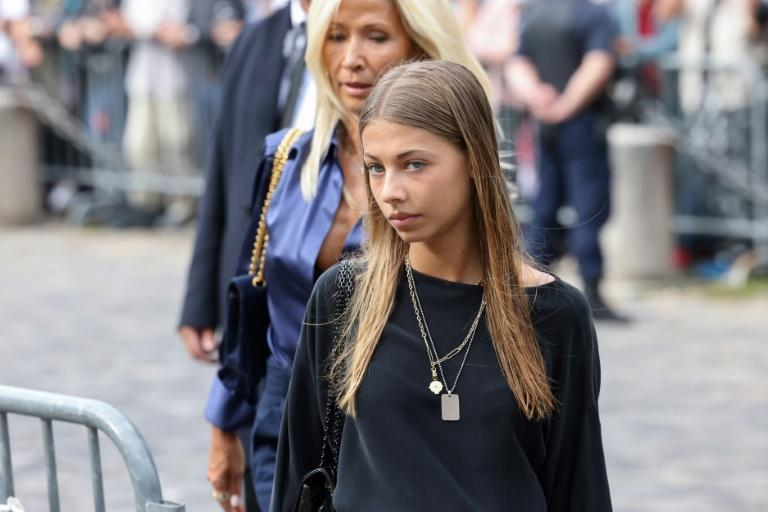 Belmondo's daughter Stella was among the funeral guests (AFP/Thomas COEX)