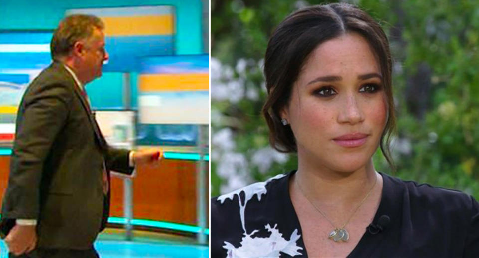 Piers Morgan storms off set after a debate about Meghan Markle's interview with Oprah Winfrey.
