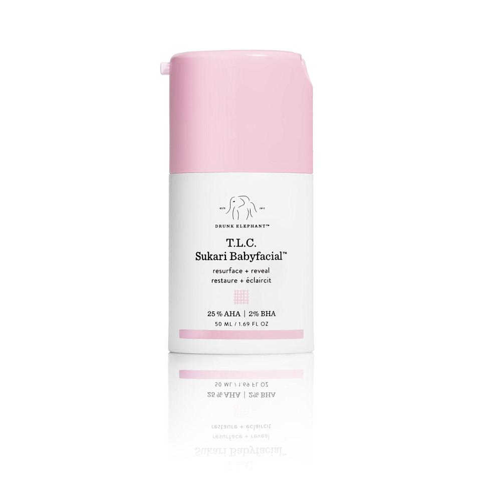 """<p>A whopping 25-percent alpha hydroxy acid formula packs a serious punch in <a href=""""https://www.allure.com/review/drunk-elephant-tlc-sukari-babyfacial-at-home-peel?mbid=synd_yahoo_rss"""" rel=""""nofollow noopener"""" target=""""_blank"""" data-ylk=""""slk:Drunk Elephant's T.L.C. Sukari Babyfacial"""" class=""""link rapid-noclick-resp"""">Drunk Elephant's T.L.C. Sukari Babyfacial</a>, which quickly won over skin-care fanatics with its gentle yet effective approach to at-home exfoliation. """"Ingredients such as matcha and milk thistle contain potent antioxidant and anti-pollution properties, which help to condition and soothe redness,"""" Shereene Idriss, a board-certified dermatologist in New York City, tells <em>Allure</em>.</p> <p><strong>$80</strong> (<a href=""""https://shop-links.co/1649918445606773439"""" rel=""""nofollow noopener"""" target=""""_blank"""" data-ylk=""""slk:Shop Now"""" class=""""link rapid-noclick-resp"""">Shop Now</a>)</p>"""