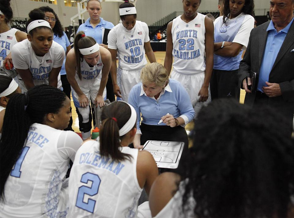 UNC head coach Sylvia Hatchell talks with her players during a timeout in the first half of an NCAA college basketball game against Maine, Friday, Dec. 19, 2014 in Myrtle Beach, S.C. (AP Photo/Randall Hill)