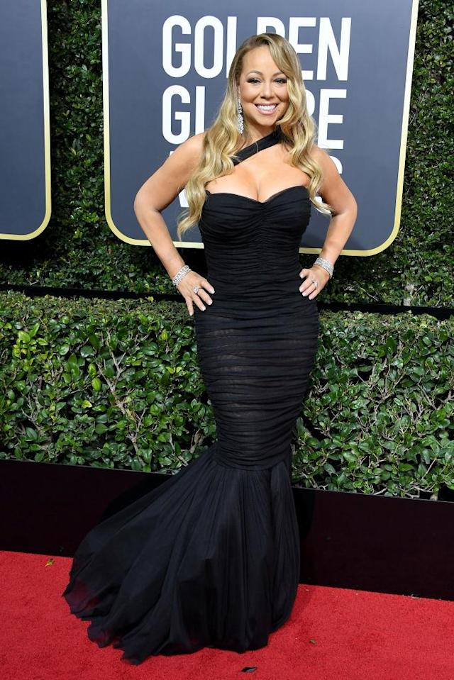 <p>Mariah Carey, who received her first nod for her song in <em>The Star</em>, attends the 75th Annual Golden Globe Awards at the Beverly Hilton Hotel in Beverly Hills, Calif., on Jan. 7, 2018. (Photo: Steve Granitz/WireImage) </p>