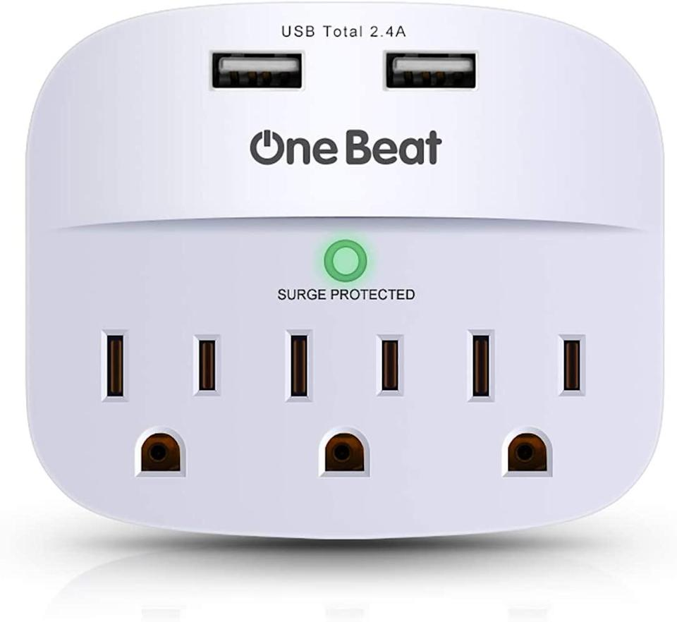 One Beat 3-Outlet Surge Protector and USB Wall Charger