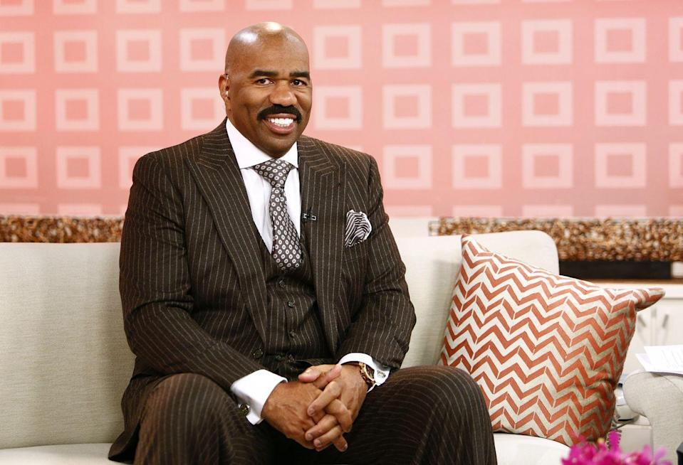 <p>Steve Harvey joined <em>Family Feud</em> in 2010 and is on track to be the longest-running host for the show of all time. His signature bald head and full mustache have always remained a constant.</p>