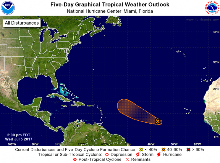 A low pressure system located about 850 miles west-southwest of the Cabo Verde Islands continues to produce showers and thunderstorms to the west of the center. (Photo: NOAA.org)