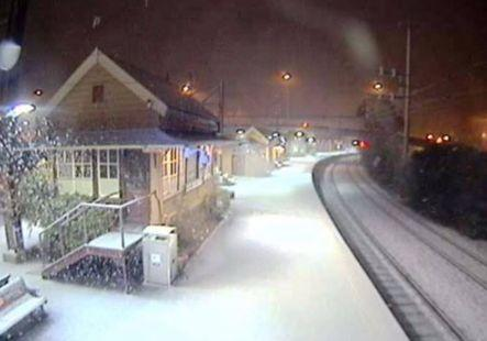 Katoomba station coated in snow on Tuesday morning. Source: Sydney Trains