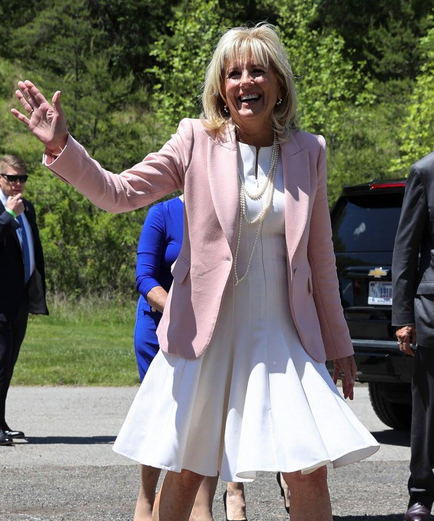 US First Lady Jill Biden waves as she greet members of the West Virginia National Guard during a trip to Charleston, West Virginia, on May 13, 2021. (Photo by Oliver Contreras / POOL / AFP) (Photo by OLIVER CONTRERAS/POOL/AFP via Getty Images)
