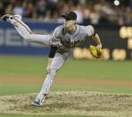 San Francisco Giants starting pitcher Tim Lincecum pitches in the ninth inning of his no hitter over the San Diego Padres in a baseball game in San Diego, Saturday, July 13, 2013. (AP Photo/Lenny Ignelzi)