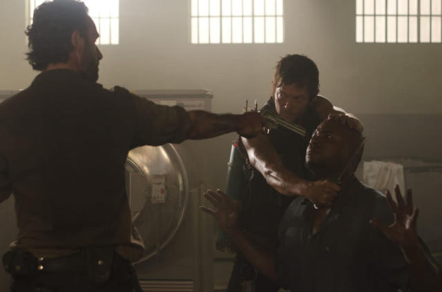 "Rick Grimes (Andrew Lincoln), Daryl Dixon (Norman Reedus) and Oscar (Vincent Ward) in ""The Walking Dead"" episode, ""Sick."""