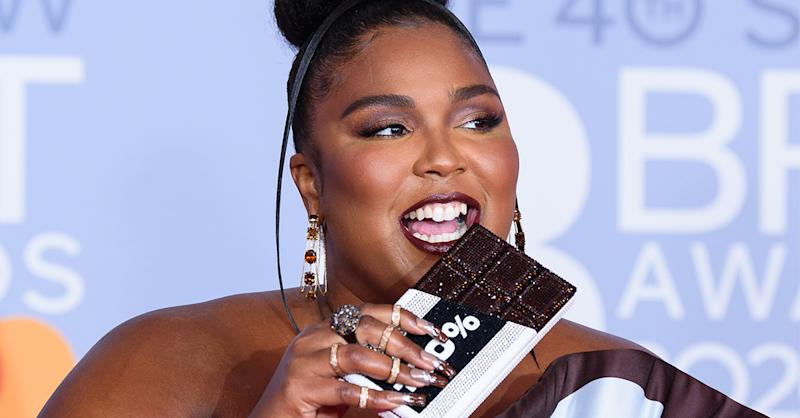 Lizzo wore chocolate scented nail polish at the Brit Awards 2020. (Getty Images)