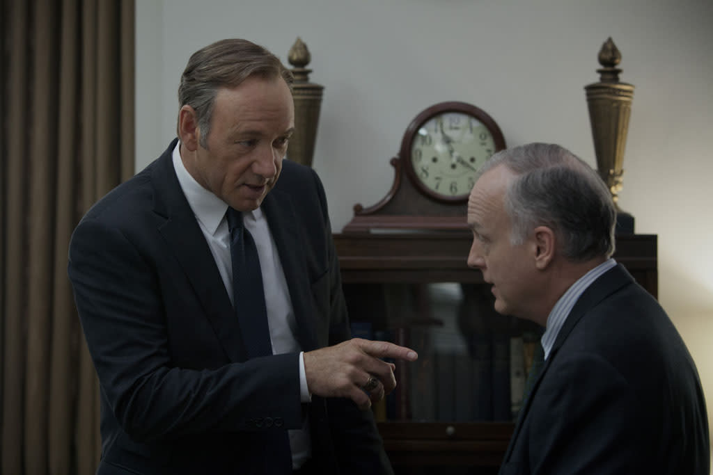 "Kevin Spacey and Reed Birney in the ""House of Cards"" Season 1 episode, ""Chapter 1."""