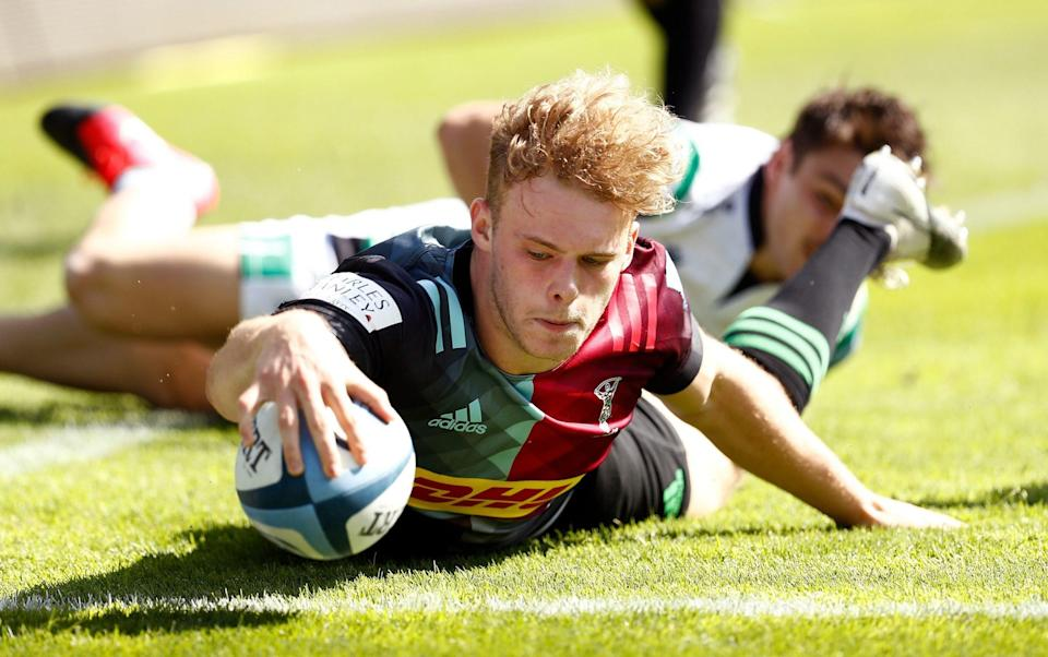Louis Lynagh touches down for Quins during their victory over Newcastle - GETTY IMAGES