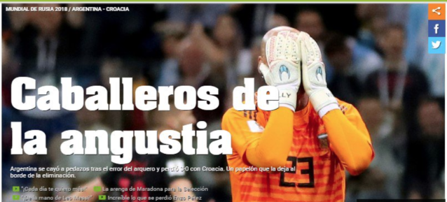 'Man of anguish': Other Argentine media outlets centred in on Willy Caballero's goalkeeping horror show. (Twitter)