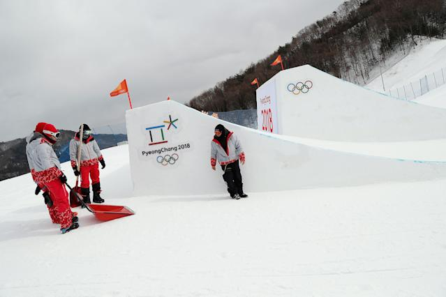 High winds canceled Sunday's women's slopestyle qualification round in PyeongChang. (Reuters)