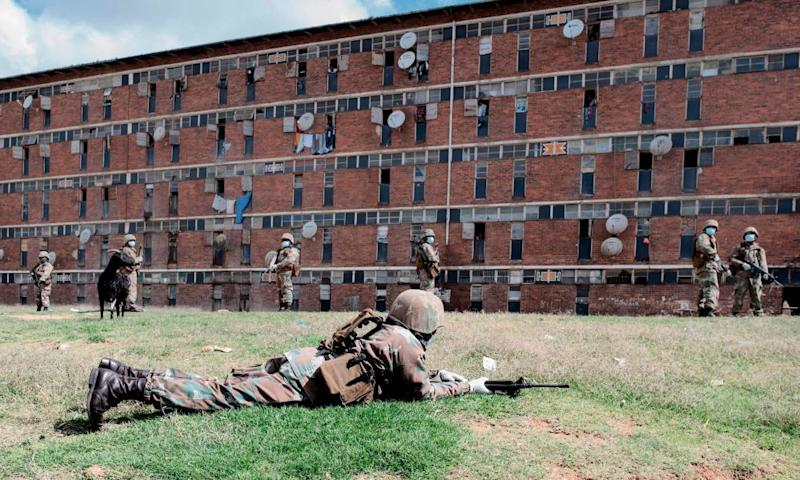 Armed soldiers enforce lockdown in Johannesburg's Alexandra township
