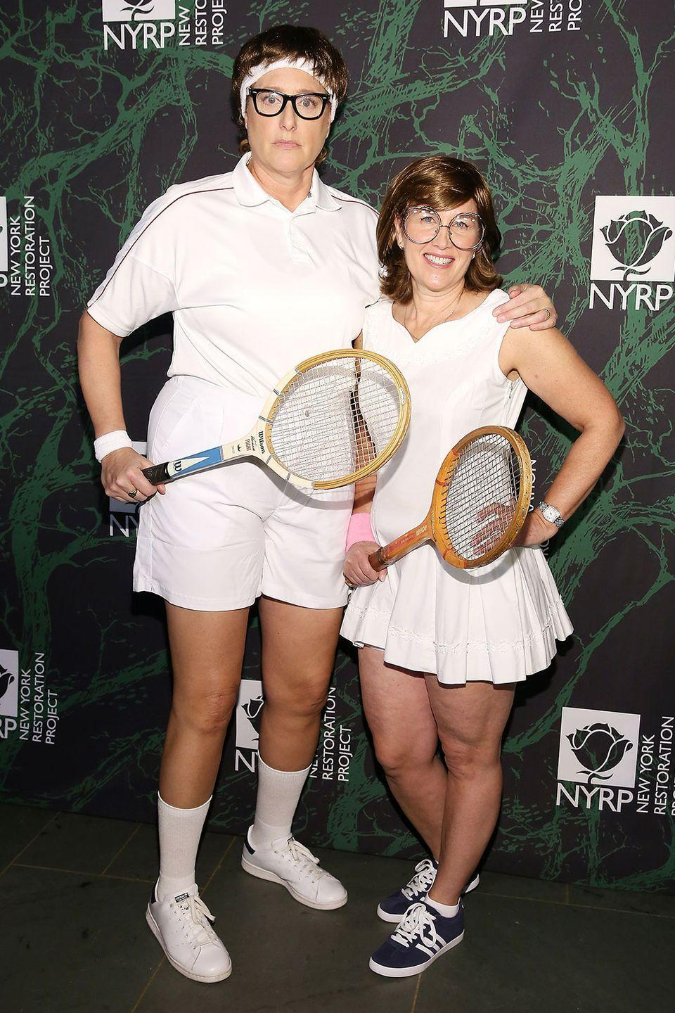 <p>Bobby Riggs and Billie Jean King may not be the first couples costume you think of, but Judy Gold and Elysa Halpern absolutely nailed it at Bette Midler's annual Hulaween party in 2017.</p>
