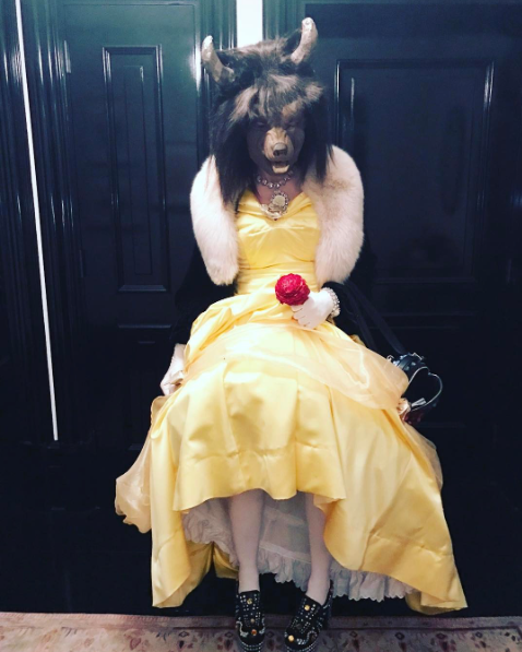 """<p>In timewith the release of Emma Watson's <i>Beauty and the Beast</i> flick, Madonna — who started studying Kabbalah, Jewish mysticism, in the '90s — dressed as both Beauty (Belle!)<em>and</em> the Beast over the weekend. The 58-year-old superstar shared a photo of her bright yellow dress and furry-faced mask on Instagram. She completed the look with fabulous shoes. (Photo: <a rel=""""nofollow"""" href=""""https://www.instagram.com/p/BRha79FAx76/?taken-by=madonna&hl=en"""">Instagram</a>) </p>"""