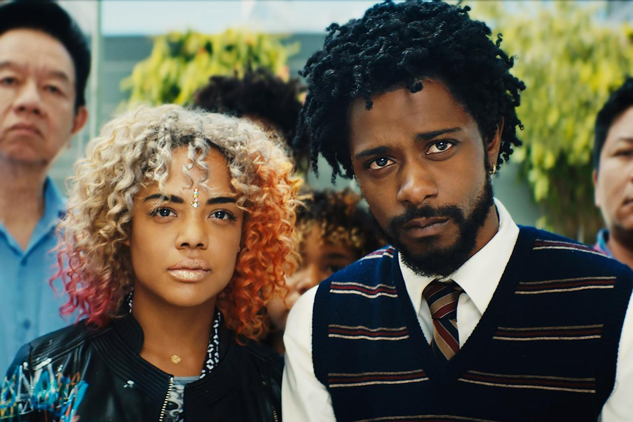 "<p>Boots Riley's <a href=""https://www.popsugar.com/entertainment/Sorry-Bother-You-Trailer-44657757"" class=""ga-track"" data-ga-category=""Related"" data-ga-label=""http://www.popsugar.com/entertainment/Sorry-Bother-You-Trailer-44657757"" data-ga-action=""In-Line Links"">directorial debut</a> uses elements of magical realism to tell an inventive story about labor and corporate practices. Cassius (Lakeith Stanfield) is a telemarketer who employs a white accent to climb up in his job, putting him in an awkward position with his friends who are organizing within the company. </p> <p><a href=""http://www.hulu.com/movie/sorry-to-bother-you-c66b772e-75e9-43b1-bcb7-e09ce9e8582d"" target=""_blank"" class=""ga-track"" data-ga-category=""Related"" data-ga-label=""http://www.hulu.com/movie/sorry-to-bother-you-c66b772e-75e9-43b1-bcb7-e09ce9e8582d"" data-ga-action=""In-Line Links"">Watch <strong>Sorry to Bother You </strong>on Hulu.</a></p>"