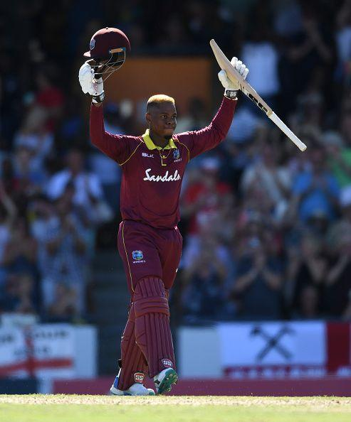 Hetmyer celebrates after scoring a century for West Indies in the 2nd One Day International against England