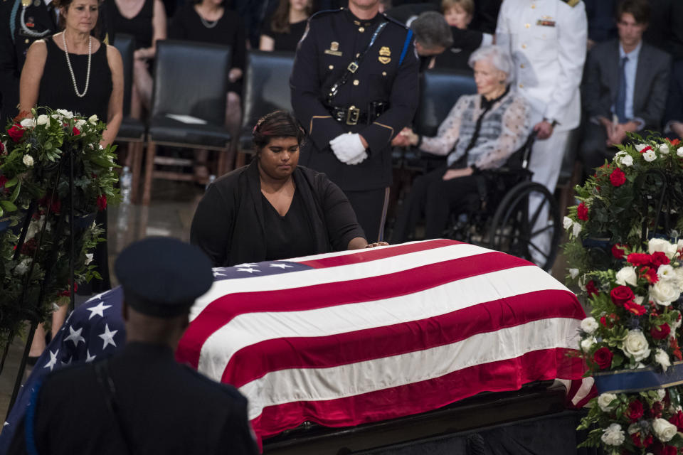 Bridget McCain, the daughter of the late Sen. John McCain, R-Ariz., paying respects to him in the Capitol rotunda on Aug. 31. (Photo: Tom Williams/CQ Roll Call)