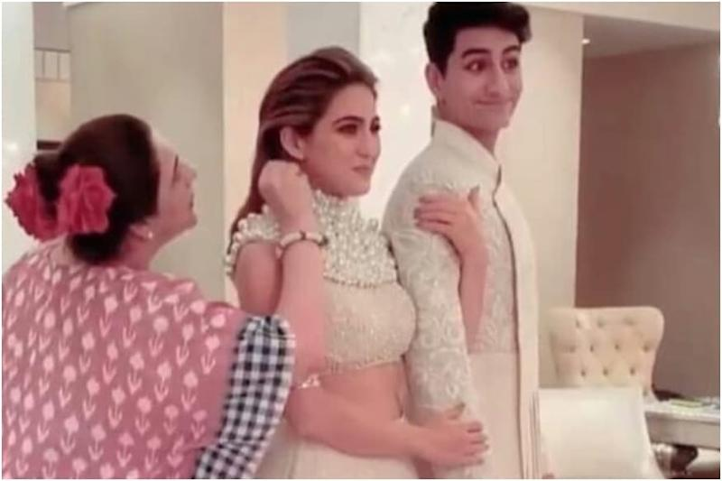 Sara Ali Khan, Ibrahim's Expressions are Unmissable as Mom Amrita Singh Puts 'Kala Tikka' on Them