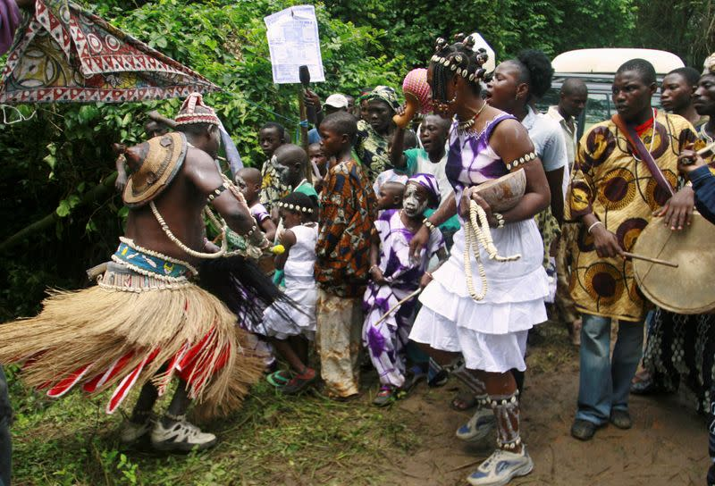 "FILE PHOTO: People gather at Osun sacred river during the annual worship festival in honour of the river goddess ""Osun"" in Osogbo"