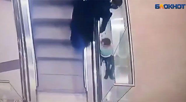 The moment the aunt can't hold on captured on CCTV. Source: Supplied