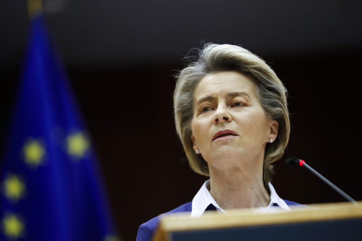 European Commission President Ursula Von Der Leyen addresses European lawmakers during a plenary session on the inauguration of the new President of the United States and the current political situation, at the European Parliament in Brussels, Wednesday, Jan. 20, 2021. (AP Photo/Francisco Seco, Pool)