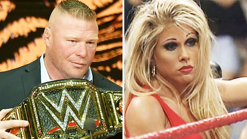 A 50-50 split image shows Brock Lesnar on the left and Terri Runnels on the right.