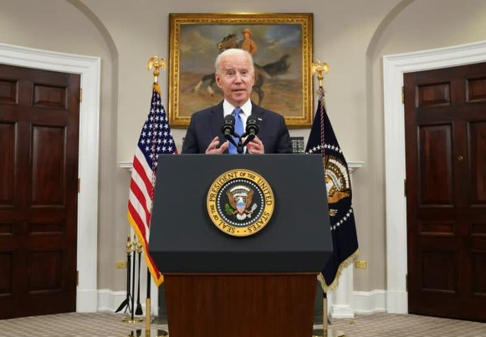 Biden speaks about the Colonial Pipeline shutdown at the White House in Washington