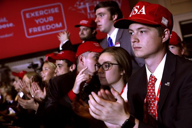 <p>Young supporters cheer as President Donald Trump addresses the Conservative Political Action Conference at the Gaylord National Resort and Convention Center, Feb. 23, 2018 in National Harbor, Md. (Photo: Chip Somodevilla/Getty Images) </p>