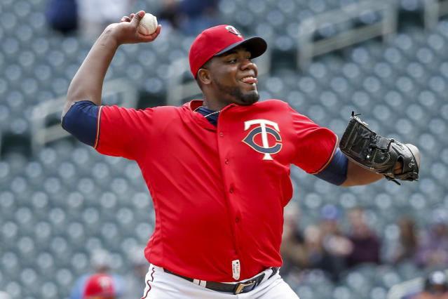 Minnesota Twins' Michael Pineda throws to the Cleveland Indians in the first inning of a baseball game Sunday, March 31, 2019, in Minneapolis. (AP Photo/Bruce Kluckhohn)