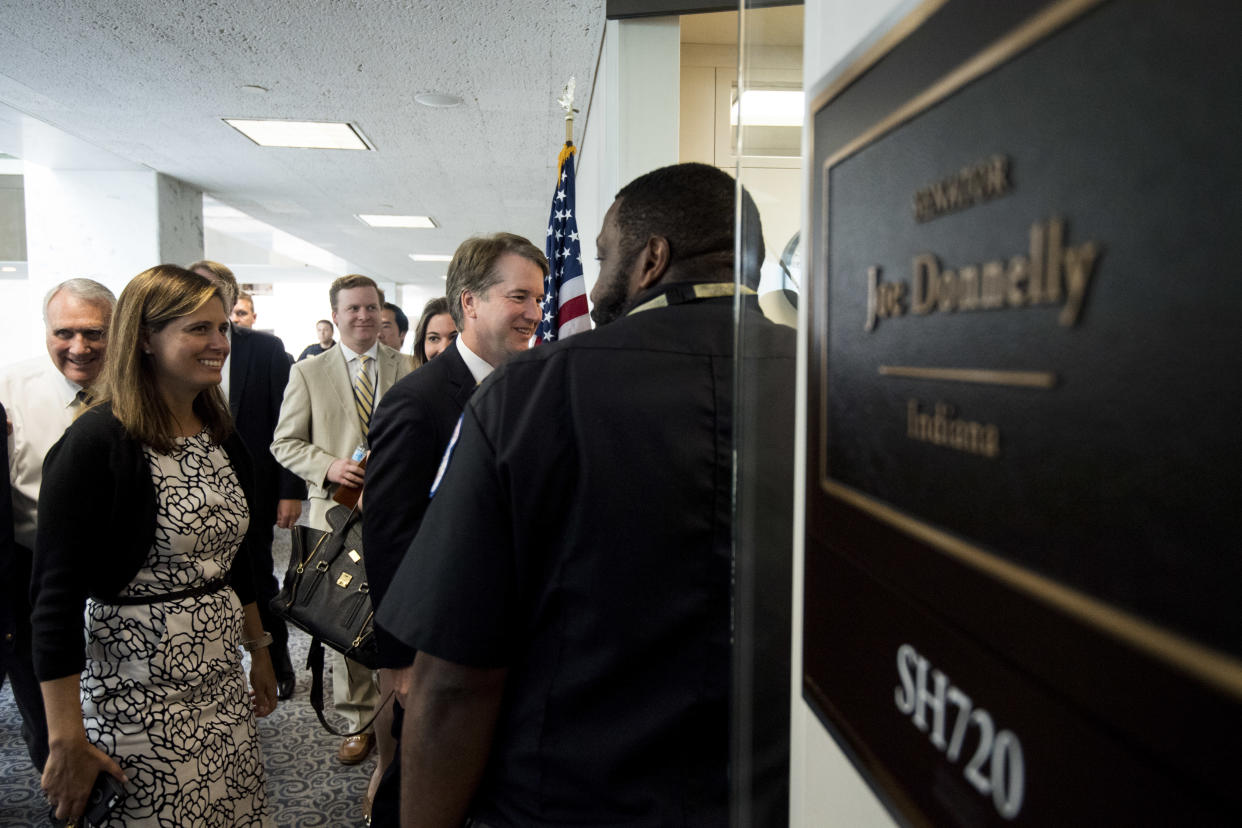 Supreme Court nominee Brett Kavanaugh arrives to meet with Sen. Joe Donnelly, D-Ind., in the Hart Senate Office Building on Aug. 15, 2018. (Photo: Bill Clark/CQ Roll Call/Getty Images)