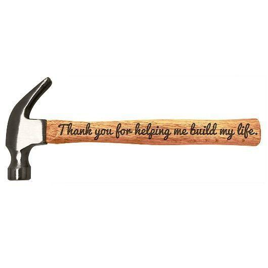 """<p><strong>Personalized Gifts</strong></p><p>amazon.com </p><p><strong>$39.99</strong></p><p><a href=""""http://www.amazon.com/dp/B0170AHW80/?tag=syn-yahoo-20&ascsubtag=%5Bartid%7C2089.g.1453%5Bsrc%7Cyahoo-us"""" rel=""""nofollow noopener"""" target=""""_blank"""" data-ylk=""""slk:Shop Now"""" class=""""link rapid-noclick-resp"""">Shop Now</a></p><p>If you can always find your dad rummaging around in his tool shed, he might actually shed a tear this Father's Day when he opens up this engraved hammer from you. It says, """"Thank you for helping me build my life.""""</p>"""